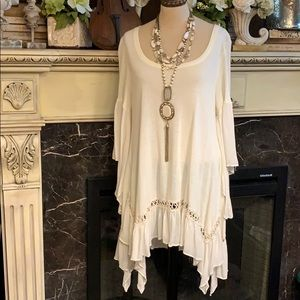 Easel flowing boho crochet bell sleeve top